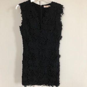 Tory Burch black floral appliqué dress 8